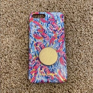 Lilly Pulitzer iPhone case with pop socket